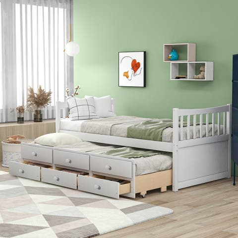 [Pre Sale]AOOLIVE Daybed with Trundle and Drawers, Twin Size, White