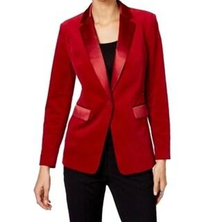 MICHAEL Michael Kors NEW Cinnabar Red Womens Size 0 Velvet Satin Blazer