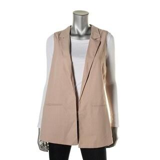 Lush Womens Crepe Open Back Casual Vest
