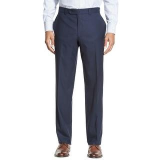 Ralph Lauren Big and Tall Neat Flat Front Hemmed Dress Pants Navy Blue 42 x 30