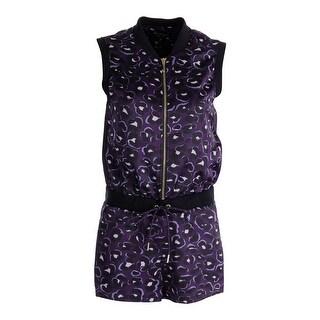 Juicy Couture Black Label Womens Satin Track Romper - L
