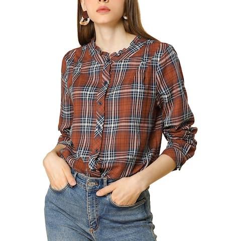 Women's Fall Blouse Long Sleeve Ruffle Neck Plaid Shirt - Red