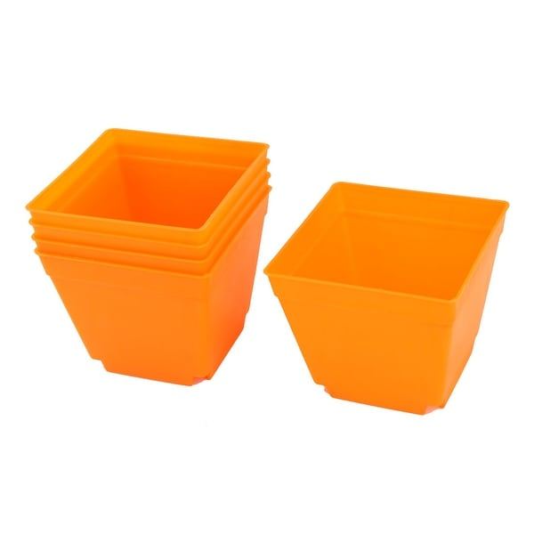 Restaurant Plastic Square Flower Succulents Pot Holder Orange 4 x 4 Inch 5 Pcs