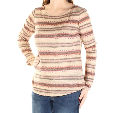 Ralph Lauren Womens Brown Striped Long Sleeve Jewel Neck Top Size: S