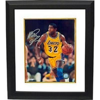 c6b099ef8 Magic Johnson signed Los Angeles Lakers 16x20 Photo Custom Framed yellow  jersey vertical close up