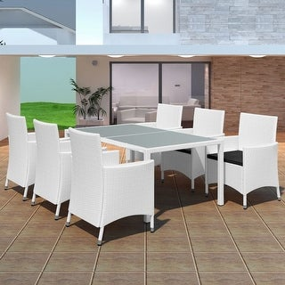 vidaXL Outdoor Dining Set 13 Pieces Poly Rattan Cream White