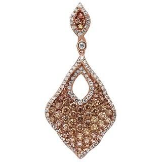 Prism Jewel 1.23Ct Natural Brown Color Diamond & Diamond Unique Shaped Pendant