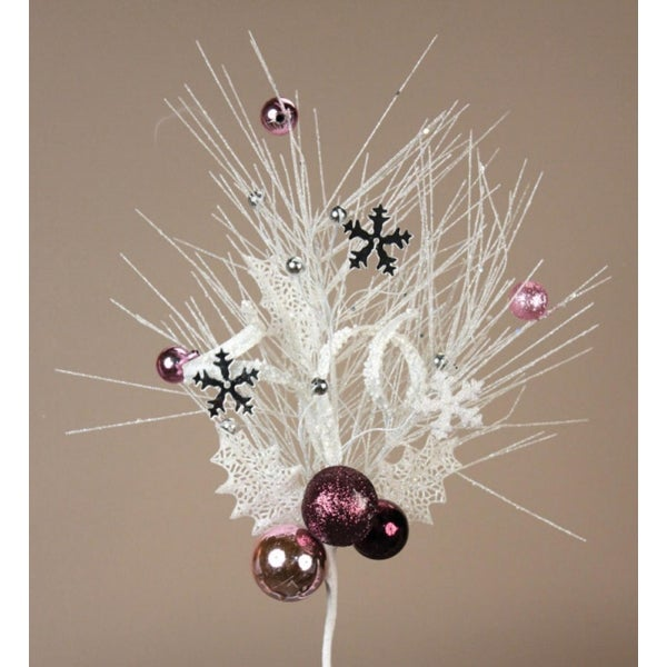 "Pack of 12 White & Purple Long Needle Pine Spray w/Balls & Snowflakes 20"""