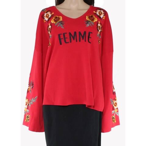INC Women's Sweater Plus Bell Sleeve Floral Embroidered