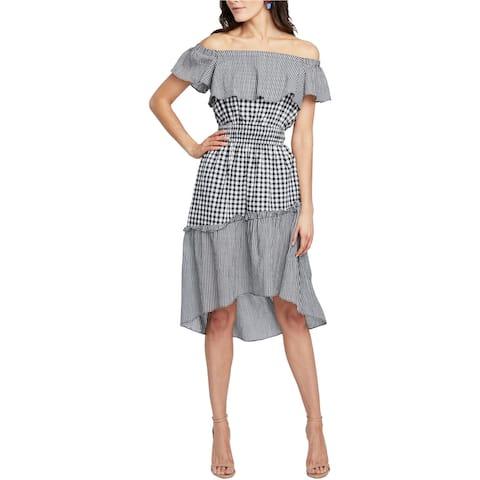 Rachel Roy Womens Gingham High-Low Dress, Black, Large