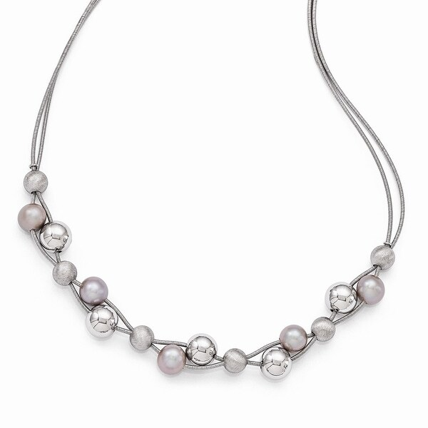 Italian Sterling Silver Polished with 2.5in Extender Necklace - 17 inches