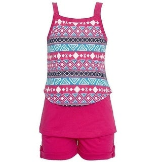 Littoe Potatoes Little Girls Fuchsia Motif Print Top 2 Pc Shorts Set