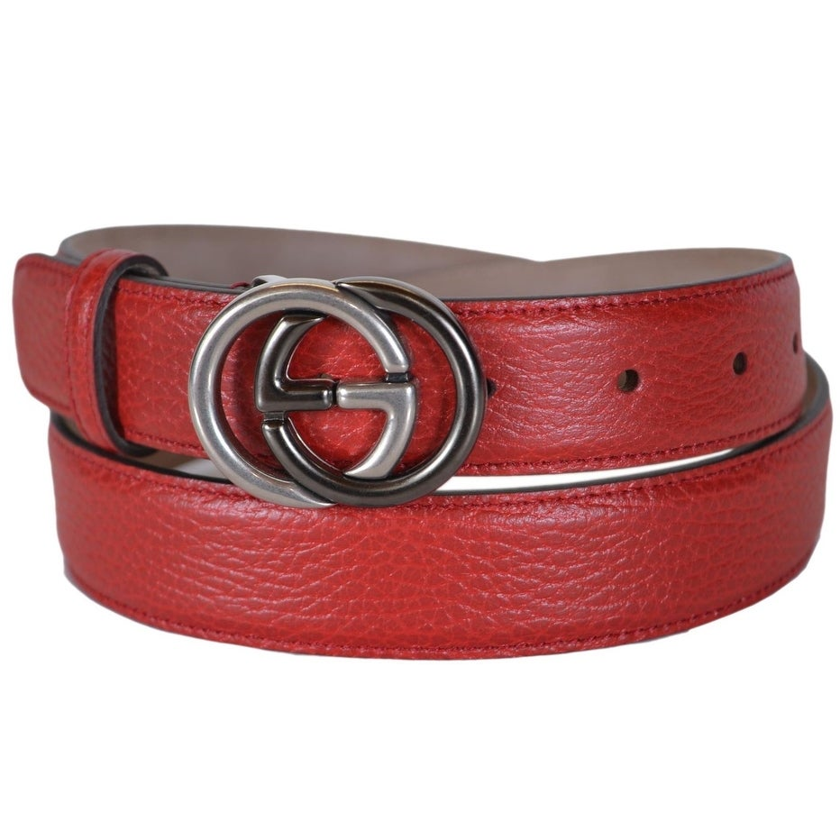 800b8cad1 Shop Gucci Men's 295704 Red Leather Interlocking 2 Tone GG Buckle Belt 38  95 - Free Shipping Today - Overstock - 20465293