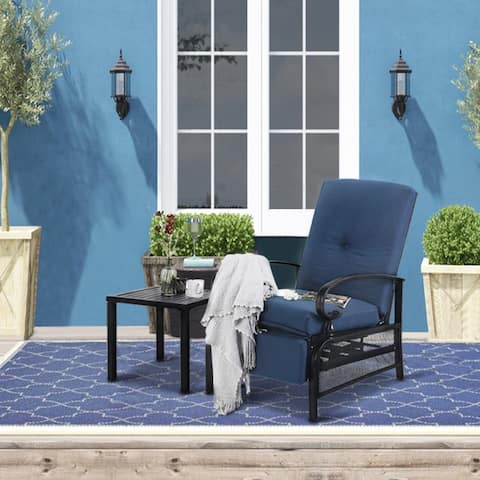 PHI VILLA 2-Piece Outdoor Bistro Set,1 Patio Metal Adjustable Relaxing Recliner Lounge Chair and 1 Metal Side Table