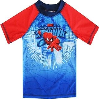 Spiderman Little Toddler Boys Blue Red Character Swimwear Rashguard Top 2-4T