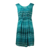 Calvin Klein Women's Pleated Printed Crepe Dress