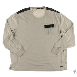 Sean John Mens Big & Tall Casual Shirt Faux Leather Trim Heathered - 5xb