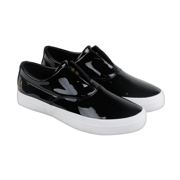 size 40 571ea 9ebe3 HUF Dylan Slip On Mens Black Patent Leather Slip On Sneakers Shoes