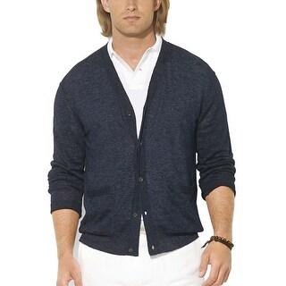 Polo Ralph Lauren RL Lightweight Linen Navy Blue Caridgan Sweater Small S
