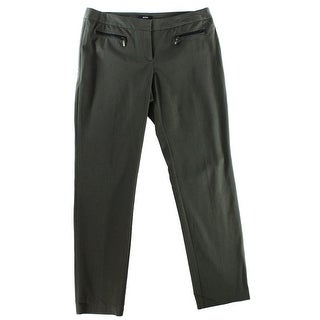 Alfani NEW Green Women's Size 12 Zipped Front-Tab Solid Dress Pants