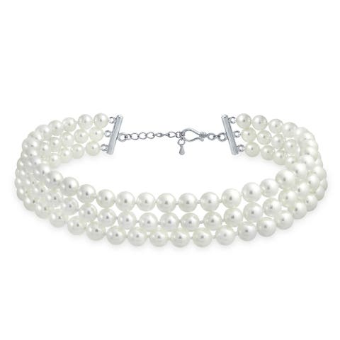 Hand Knotted 3 Row Wide Imitation Pearl Strand Choker Necklace