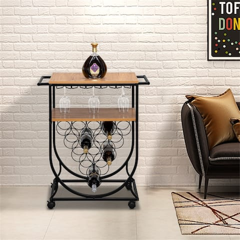 Double-Layer Movable Iron-Wood Multifunctional Wine Rack Bar Cart