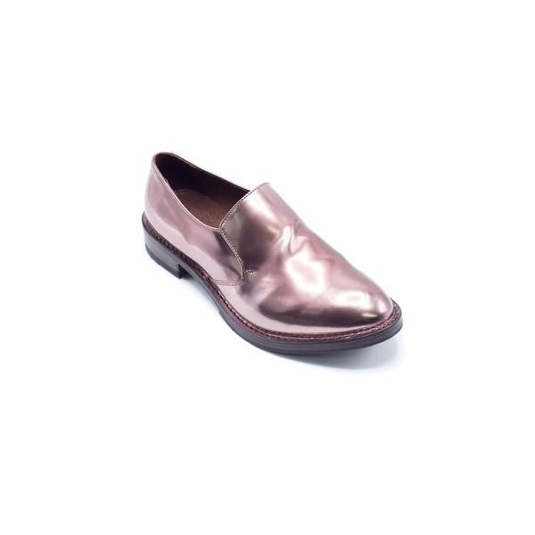 Shop Brunello Cucinelli Women s Leather Slip-On Shiny Metallic Pink ... c03ed44f363f