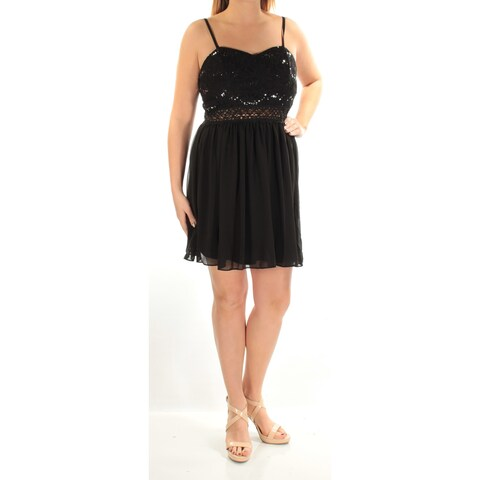 BCX Womens Black Sequined Cut Out Spaghetti Strap V Neck Above The Knee Cocktail Dress Juniors Size: 13