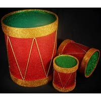 Set of 3 Sparkling Red Gold and Green Glitter Christmas Drum Table Top Decor