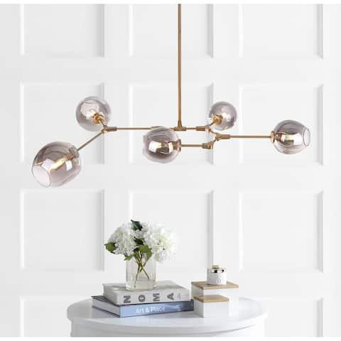 """SAFAVIEH Lighting Corbett 5-light Edison Bulb Greige Pendant - 53.5""""x32""""x45"""""""