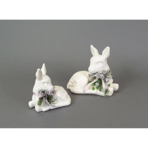 """Pack of 4 Snow Drift White Glittered Table Top Deer w/Leaves 9"""" - 11"""""""