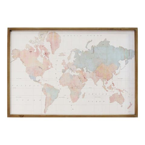 Stratton Home Decor Watercolor World Map Print Wall Art - Multi