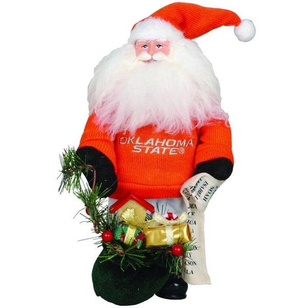 "10"" NCAA Oklahoma State Cowboys Gift Bearing Santa Christmas Table Top Figure - ORANGE"