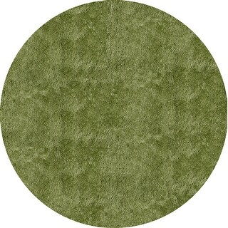 Momeni Luster Shag Apple Green Hand-Tufted Shag Rug (4' X 4' Round) - 4' x 4' Round