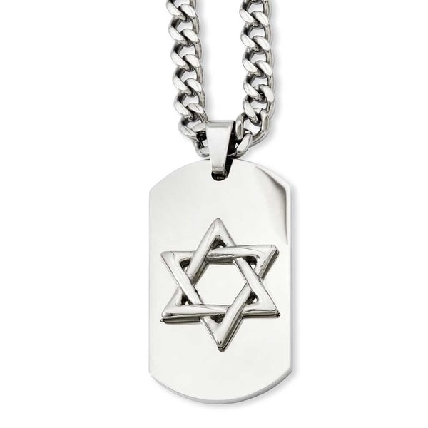 Stainless Steel Star of David Dogtag Pendant 24in Necklace (5 mm) - 24 in
