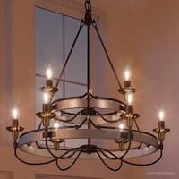 "Luxury Transitional Chandelier, 33""H x 31""W, with Colonial Style, Brass and Bronze Accented Design, Aged Nickel Finish"