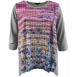 Women Plus Size Gradient Rainbow Knit Top Tee Blouse Shirt Grey 170.23