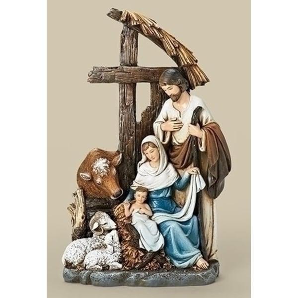 "11"" Joseph's Studio Religious Christmas Holy Family with Cross Stable Figurine"