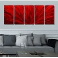 Statements2000 Red 5 Panel Contemporary Metal Wall Art by Jon Allen - Red Plumage - Thumbnail 3