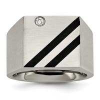 Chisel Stainless Steel Brushed Black IP-plated CZ Ring