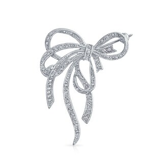 Bling Jewelry Pave CZ Fancy Knot Bow Ribbon Brooch Pin Rhodium Plated