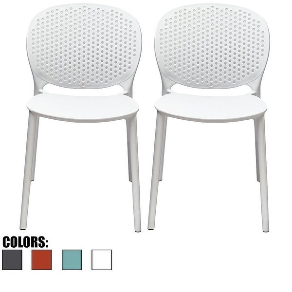 2xhome - Set of 2 Modern Plastic Armless Stackable Stacking Dining Side Chairs Matte Indoor Outdoor Restaurant Home