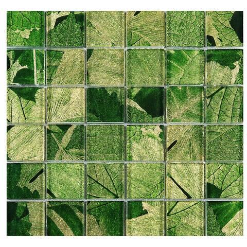 "TileGen. Season Series Spring 2"" x 2"" Glass Mosaic Tile in Green Wall Tile (10 sheets/9.6sqft.)"