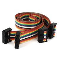 1.4ft 14 Pin 14 Way F/F Connector IDC Flat Rainbow Ribbon Cable 2pcs