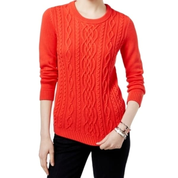352e2300 Shop Tommy Hilfiger NEW Red Women's Size 2XL Cable Knit Crewneck Sweater -  Free Shipping On Orders Over $45 - Overstock - 17860126