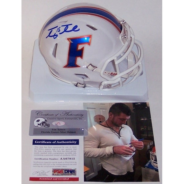 51a21f3482ba9 Shop Tim Tebow Autographed Hand Signed Florida Gators White Speed Mini  Helmet - PSA DNA - Free Shipping Today - Overstock - 12266985