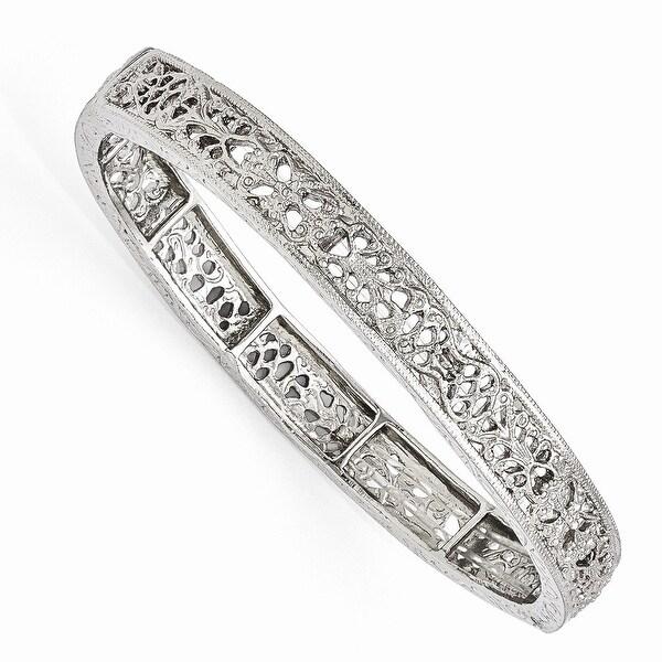 Silvertone Filigree Stretch Bracelet