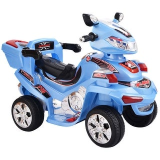 Costway 4 Wheel Kids Ride On Motorcycle 6V Battery Powered R/C Electric Toy Power Bicyle Blue