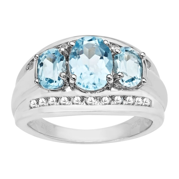 3 3/8 ct Sky Blue and White Topaz Ring in Sterling Silver