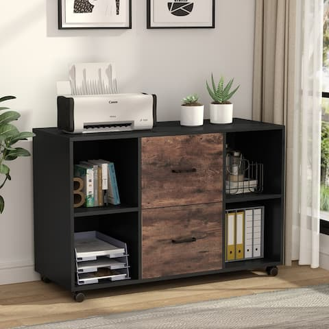 2-Drawer Wood Mobile Lateral File Cabinet